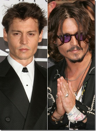 On the left, you can see Johnny's hair has receded slightly. johnny depp